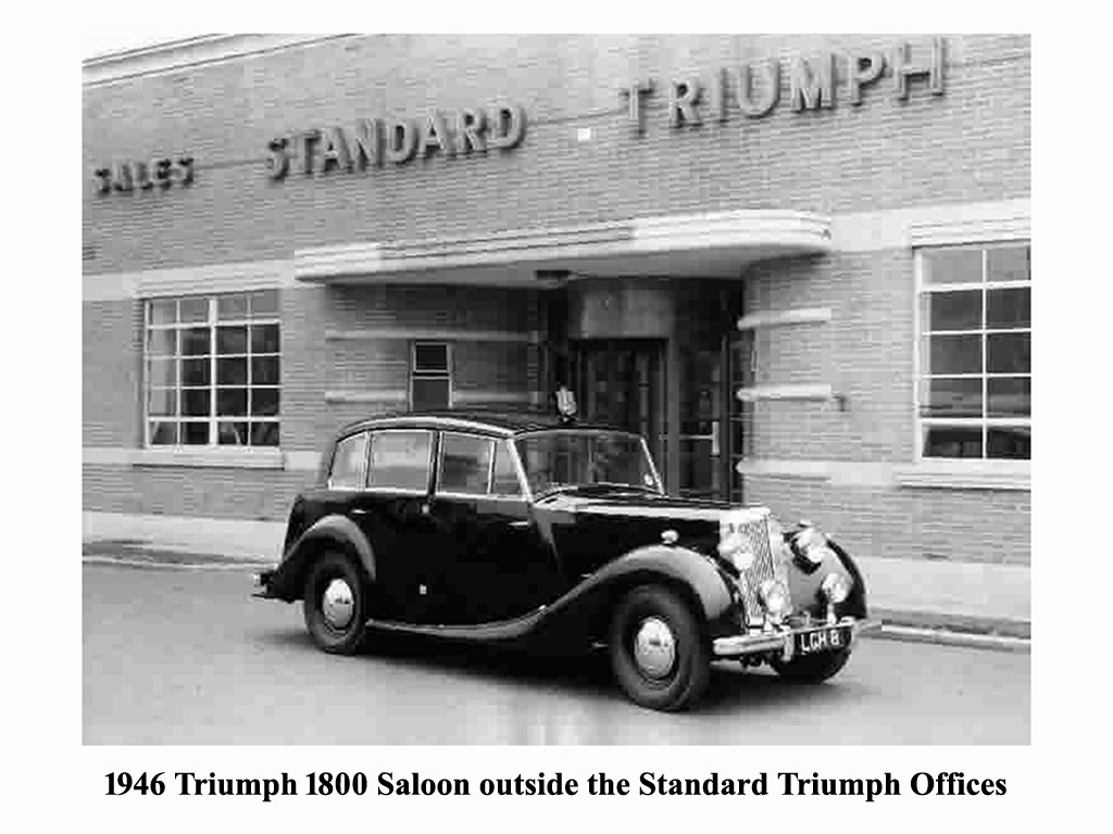 1946 Triumph 1800 outside the Standard Triumph offices